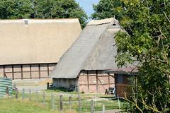 Fotos aus dem Hamburger Stadtteil Reitbrook, Bezirk Bergedorf. Hofanlage mit Wirtschaftsgebäude, Fachwerkscheunen mit Reetdach am Vorderdeich.