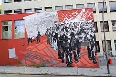 Bilder aus dem Hamburger Stadtteil St. Georg, Bezirk Mitte; Wandbild Streik in der Repsoldtraße / Gewerkschaftshaus - Hildegund Schuster 2014.
