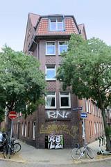 Fotos aus dem Hamburger Stadtteil Neustadt, Bezirk Hamburg Mitte. Wohnhaus in der Rehhoffstraße / Ledigenheim; errichtet 1913, Architekten Behrens + Vincenz - das Gebäude steht unter Denkmalschutz.