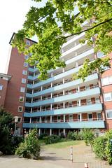 Fotos aus dem Hamburger Stadtteil Neustadt, Bezirk Hamburg Mitte. Hochhaus an der Rothesoodstraße im Baustil der 1960er Jahre - Architekt Hermann Schöne..