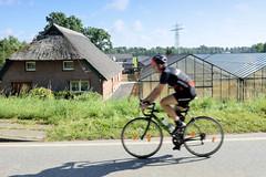 Fotos aus dem Hamburger Stadtteil   Allermöhe, Bezirk Hamburg Bergedorf. Rennradfahrer auf dem Allermöher Deich - reetgedecktes Gebäude, Gewächshäuser.