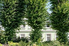 Fotos aus dem Hamburger Stadtteil Ochensenwerder, Bezirk Bergedorf.  Hofanlage, Wohnwirtschaftsgebäude mit Windbäumen am Gauerter Hauptdeich, errichtet 1877 - die Anlage steht unter Denkmalschutz.