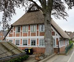 Curslack ist ein Stadtteil  im Bezirk Hamburg Bergedorf. Curslack ist einer der vier Stadtteile, die zusammen die Hamburger Vierlande bilden. Denkmalgeschützte Kate mit Reetdach am Curslacker Deich.