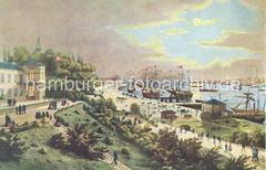 Historische Ansicht Hamburg St. Pauli Landungsbrücken - Fährhaus, Segelschiffe.