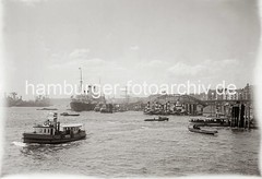 Schiffsverkehr beim Baumwall, Barkassen + Jollen; ca. 1936.