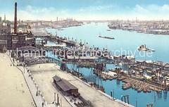 Hamburger Hafenpanorama - Blick über die Elbe, Landungsbrücken - Wassertreppe, Pontons.