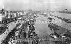 Historische Hamburg-Motive - Hafenanlagen, Binnenschiffe + Schlepper Vorsetzen, Baumwall.