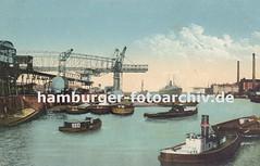 Historische Motive von der Geschichte des Harburger Hafens - Krananlage und Schlepper.