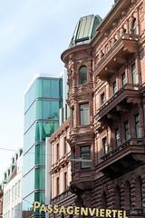 Historische Architektur in der Hamburger Innenstadt, Stadtteil Neustadt. Hamburger Hof am Jungfernstieg / Neuer Wall - 1883 als Hotel errichtet, Architekten Bernhard Hanssen und Emil Meerwein / Bauplastik Engelbert Peiffer.