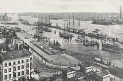 Historisches Motiv von der Geschichte Hamburgs - Niederhafen mit Segelschiffen.