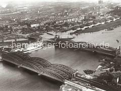 Luftaufnahme Norderelbbrücken - Hamburg Rothenburgsort; ca. 1930.