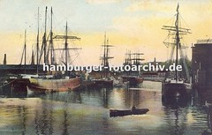 Alte Bilder aus dem Harburger Hafen; Getreidesilo und Segelschiffe.