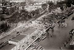 Historische Hamburg-Bilder aus dem Archiv der Hamburger Hafen und Logistik AG (HHLA)     Luftaufnahme Kohlehafen Altona - Lagerhaus D / Schellfischtunnel; ca. 1932.