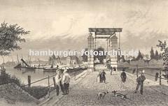 Historische Bilder von der Geschichte des Harburger Hafens - Klappbrücke + Hafenansicht.
