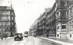 Historische Ansicht der Stresemannstraße im jetzigen Hamburger Stadtteil Altona-Nord.