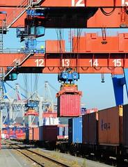 Beladen eines Güterwagens mit einem Container - Containerzug Terminal Burchardkai.