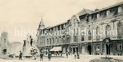 Historische Ansicht vom Stuhlmannbrunnen und dem Hotel Kaiserhof in Altona; im Hintergrund das Empfangsgebäude vom Altonaer Bahnhof.