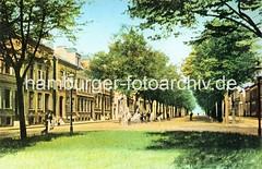 Coloriertes altes Altonaer Motiv von der Palmaille (ca. 1910); Blick von der Alle zwischen den Fahrbahnen auf die Häuser in der Palmaille.