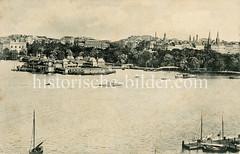 Altes Bild von der Hamburger Aussenalster bei der Lombardsbrücke - Blick auf die öffentliche Badeanstalt Alterlust.