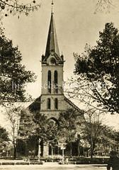 Altes Bild von der evangelischen Kirche in Hamburg Wilhelmsburg.
