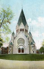 Altes Bild der Gnadenkirche auf Hamburg St. Pauli; die evangelische Kirche wurde 1905 errichtet - Architekt  Fernando Lorenzen.