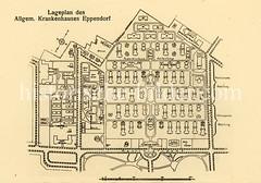 X0093344-1_lageplan-krankenhaus Historische Aufnahmen vom Eppendorfer Krankenhaus in  Hamburg.