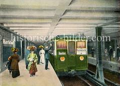 Altes Bild von der Haltestelle Barkhof der U-Bahn in der Hamburger Altstadt.