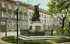 Altes Bild vom Siegesdenkmal zum deutsch-französichen Krieg 1870/71 in der Marktstraße von Altona - errichtet 1880 wurde es im II. Weltkrieg zerstört.