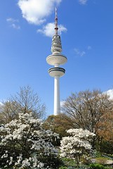 Fotos aus Planten un Blomen im Frühling - Heinrich Hertz Turm.