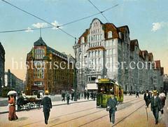 Blick zum Barkhof in der Mönckebergstraße; Straßenbahn und Karren.