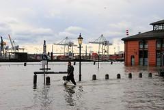 Altonaer Fischmarkt unter Wasser - überflutetes Fischmarktgelände. Ein Helfer watet durch das hohe Wasser.