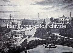 Historisches Hamburg St. Pauli - Landungsbrücken und Hafenstrasse.