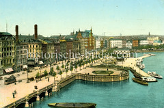 Historische Ansicht vom Hamburger Jungfernstieg an der Binnenalster.
