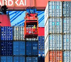 Lascher bei der Arbeit - Hamburger Hafen, Burchardkai.
