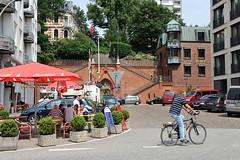 Strassencafe an der Grossen Elbstrasse - Köhlbrandtreppe.