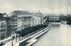Historische Ansicht vom Neuen Jungfernstieg an der Binnenalster in der Hamburger Neustadt - im Hintergrund die Bahnbrücke  beim Alsterglacis.