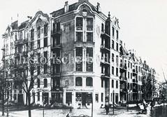 Historische Bilder aus dem Hamburger Stadtteil Borgfelde; Etagenhaus / Wohngebäude mit Geschäft an der Borgfelder Straße / Brekelbaumspark.