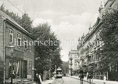 Historische Ansicht der Flottbeker Chausse bei Rainville in Hamburg Ottensen.