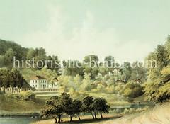 Historisches Bild vom Mühlenberg in Hamburg Blankenese, ca. 1855.