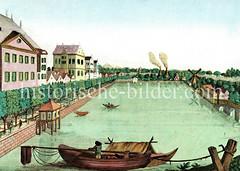Alte Ansicht der Hamburger Binnenalster; lks. der Jungfernstieg, re. die Lombardsbrücke und Windmühle. (ca. 1780)