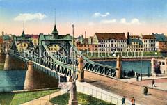 Historische Ansicht der Hansestadt Bremen, Weserbrücke.