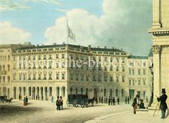 Bilder aus der Hamburger Altstadt - Adolphsplatz ca. 1845; Hotel und Zinggs Caffee Haus.