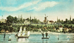 Historische Ansicht der Elbe bei Hamburg Neumüheln  - Segelschiffe auf dem Wasser, Windmühle.