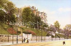 Historische Bilder aus dem Hamburger Stadtteil Borgfelde; Grünanlage an der Borgfelder Straße - Etagenhäuser in Oben Borgfelde.
