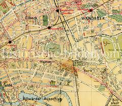 Historische Straßenkarten von Hamburg Hamm und Umgebung.