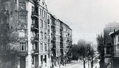 Historische Bilder aus dem Hamburger Stadtteil Borgfelde; Blick von der Borgfelder Straße in den Grevenweg - re. im Vordergrund eine Filiale der Dresdner Bank.