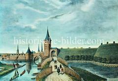 Alte Darstellung vom Winsener Tor - Wachturm und Palisaden; historische Stadtbefestigung von Hamburg.