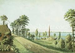 Historische Ansicht von der Veddel - Blick über die Elbe nach Hamburg, ca. 1830.
