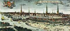 Historische Ansicht Hamburgs 1730 - Panorama der Stadtbefestigung und der Hafenanlagen; Bebauung auf dem Kehrwieder.