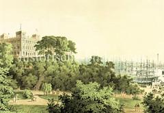Historische Ansicht der Hamburger Seewarte - Blick auf den Mastenwald im Hamburger Hafen. (ca.  1870)